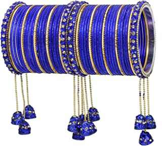 Ratna Indian Bollywood Bangles Women Wedding & Party Wear Pakistani Matching Outfit Color Latken Dangle Drop Bridal Bangle Set Pair Jewelry