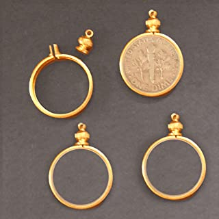 Coin Holder Bezel Gold Tone for 10 Cent / USA Dime ~ for Charm, Necklace, Pendant, Display (Pack of 4)