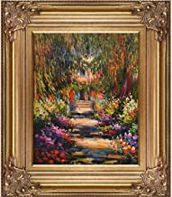"La Pastiche Garden Path at Giverny by Claude Monet Oil Painting, 8"" x 10"", Renaissance Bronze Frame"