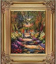 لوحة زيتية لممر حديقة La Pastiche للفنان كلود مونيه، مقاس 20.32 سم × 25.4 سم، إطار برونزي رينيسانس