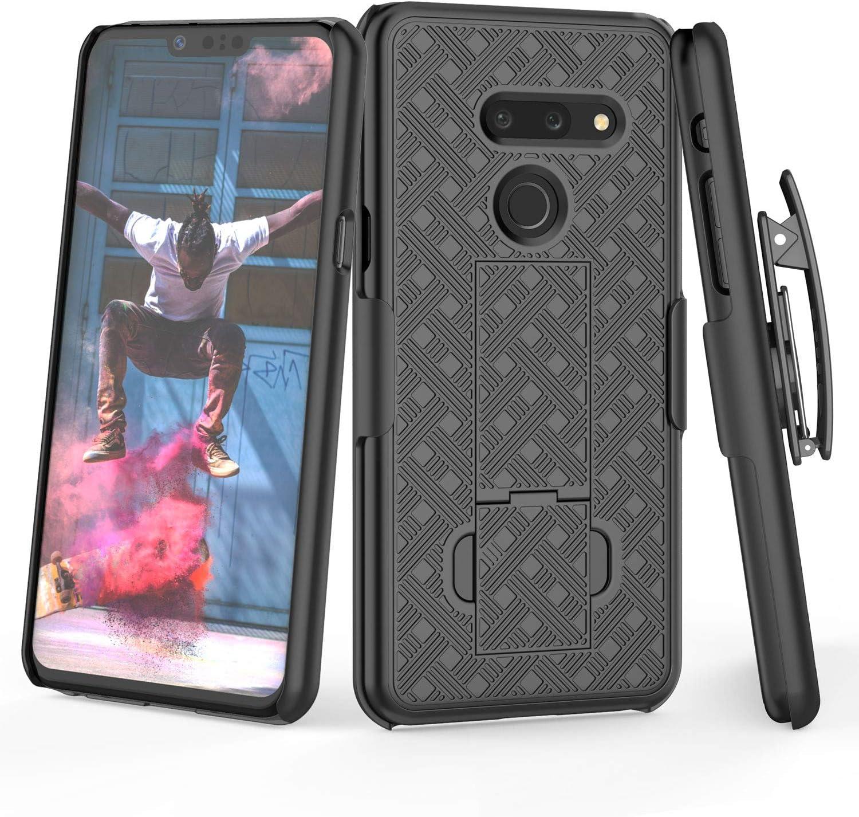 TILL for LG G8 ThinQ Case, TILL [Thin Design] LG G8 Holster Locking Belt Swivel Clip Non-Slip Texture Hard Shell [Built-in Kickstand] Combo Case Defender Cover for LG G8 All Carriers [Black]