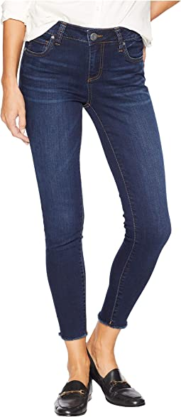 Connie Ankle Skinny Jeans w/ Fray Hem in Pamper