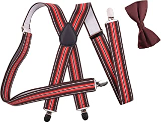 BODY STRENTH Mens Bow Tie and Suspenders X Shape Adjustable