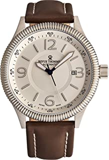 Revue Thommen Pilot Men's Automatic Watch - Round Silver Dial with Luminous Hands, and Date - Sapphire Crystal and Brown Leather Strap Swiss Made Watch for Men 17060.2528