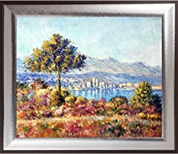 """La Pastiche Antibes, 1888 by Claude Monet Framed Hand Painted Oil on Canvas, 29.25"""" x 25.25"""""""