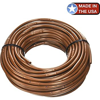 One Stop Outdoor (100' ft Roll) - USA Made - 1/4-Inch x Irrigation/Hydroponics Dripline with 6-Inch Emitter Spacing (Brown) (100' Foot Roll)