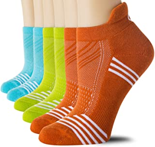 CelerSport 6 Pack Women's Low Cut Athletic Ankle Socks with tab Running Socks Cushioned