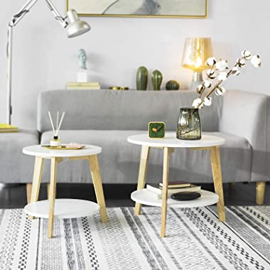 Haotian FBT75-W, White Nesting Round End Table, Set of 2 Coffee Tables, Modern Minimalist Side Table for Living Room and Bedr