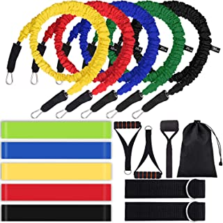 16pcs Resistance Bands Set with Handles Home Workout Equipment Exercise Bands for Working Out Door Anchor Ankle Straps Resistance Loop Bands