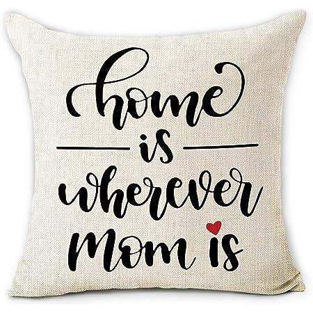 Home is Where Mom Is 18x18 PillowCustom PillowsHousewarming GiftsPillow CoverThrow PillowMother/'s Day PillowMother/'s Day Gift
