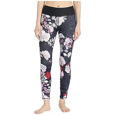 Bebe Sport Striped Leggings (Black/Power Rose) Women