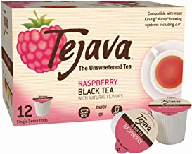 Tejava Unsweetened Black Tea Pods, Natural Raspberry Flavor, (Pack of 12)