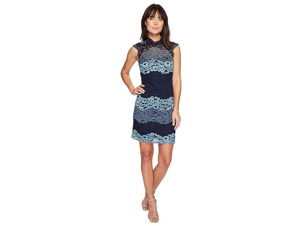 Laundry by Shelli Segal Mock Neck Lace Shift Dress (Denim Blue) Women
