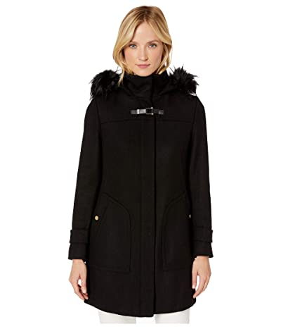 Cole Haan Wool Twill Hooded Duffle Coat w/ Faux Fur Trim (Black) Women