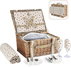 G GOOD GAIN Willow Picnic Basket Set for 2 Persons with Large Insulated Cooler Bag,Wicker Picnic Hamper for Camping,Outdoo...