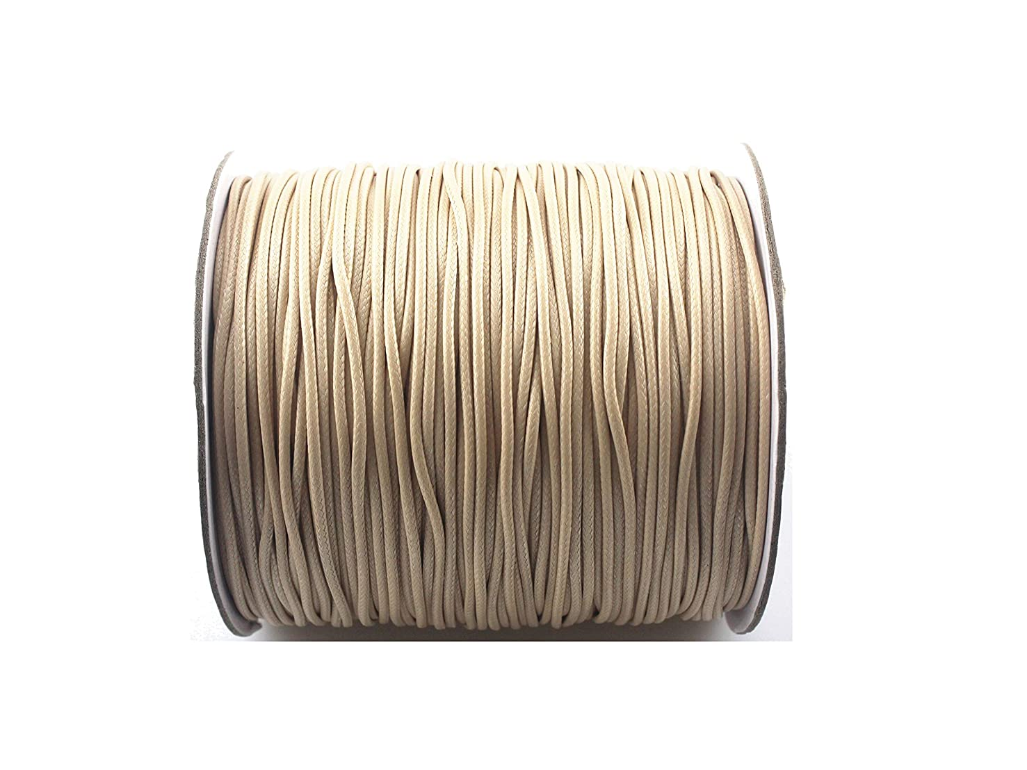 QIANHAILIZZ 200 Yards 1.5 mm Waxed Jewelry Making Cord Waxed Beading String Craft DIY Thread (Natural)