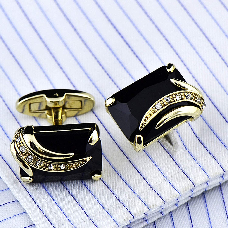 LiKin Mens Cufflinks Cuff Links,Mens Shirt Cufflinks Formal Business Wedding,Classic Cufflinks for Men's Business Wedding Party (Color : Black Crystal)