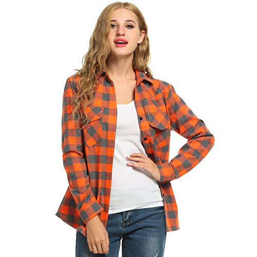 Womens Plaid Flannel Shirt, Roll Up Long Sleeve Checkered Cotton Boyfriend Shirt