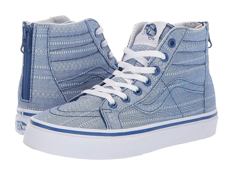 Vans Kids Sk8-Hi Zip (Little Kid/Big Kid) ((Lace Chambray) True Blue/True White) Girls Shoes