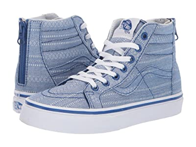 Vans Kids Sk8-Hi Zip (Little Kid/Big Kid) ((Lace Chambray) True Blue/True White) Girls Shoes
