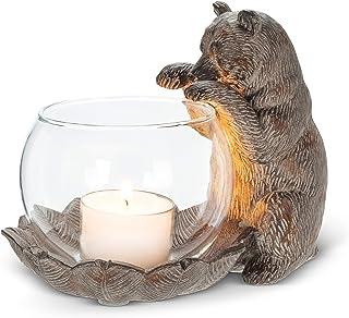 Abbott Collection 27-EDWARD-270 Paw Up Bear Tealite Holder, Brown
