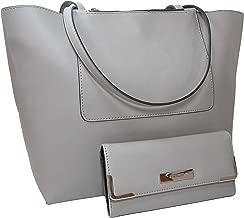 New Nine West Logo Purse XL Hand Bag & Matching Check Wallet 2 Piece Set Gray