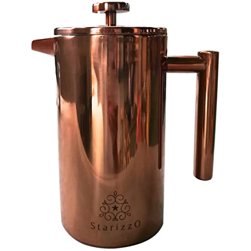 French Press Coffee Maker With Beautiful Copper Finish, Premium Insulated Stainless Steel & Spout Closure