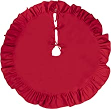 Red Christmas Tree Skirt - 50-Inch Linen Skirt with Ruffled Trim, Winter Holiday Decoration, Plain Red Design, Classic Style Indoor Festive Season Decor