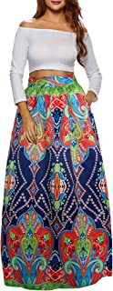 Afibi Women African Printed Casual Maxi Skirt Flared Skirt Multisize A Line Skirt