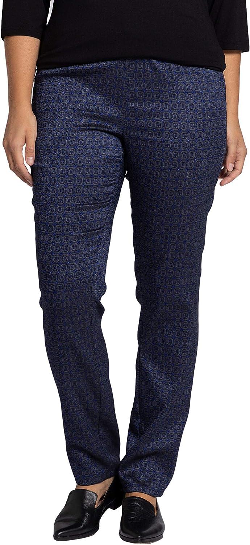 Ulla Popken Womenswear Plus Size Curvy Oversize Graphic Octagon Jacquard Slim Leg Sienna Fit Pants 751020