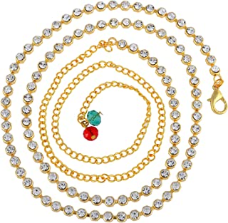 Sanjog Women's Brass Metal Golden Color Stylish One line Kundan Kamarband Belly Chains