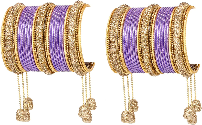 Ratna creation SANARA Indian Traditional Bollywood Style Antique Gold Tone Latkan Made Crystal 54 Pc Wedding Matching Hanging Churi Bangles Costume Jewellery
