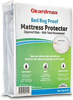 Guardmax Bed Bug Mattress Protector Cover Zippered   100% Waterproof Encasement   Soft, Hypoallergenic and Breathable   Twin Size (39x75x9)