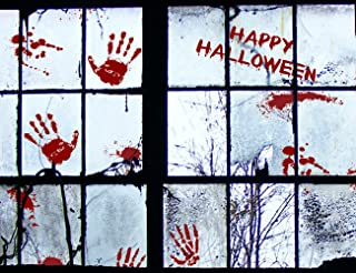Moon Boat 91 PCS Bloody Halloween Window Clings - Vampire Zombie Party Handprint Decals Decorations