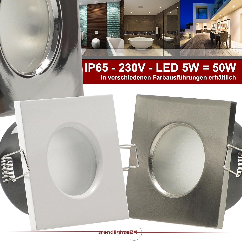 5er Set (1-5er Sets) Decken Einbaustrahler Bad AQUA BASE IP65 quadratisch eckig 230V EDELSTAHL OPTIK gebürstet; SMD LED 5,0W = 50W Warm-Weiß; Einbauleuchte für Feuchtraum + Außen 1x Weiß Led Warm-w.