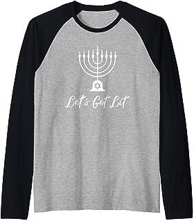 Let's Get Lit Funny Hanukkah Menorah Jewish Holiday Raglan Baseball Tee