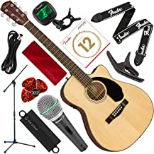 Fender CC-60SCE Acoustic-Electric Guitar, Concert Body Style, Natural Finish with Microphone & Stand Bundle + Capo, Tuner, Strings, Picks & Complete Starters Pack