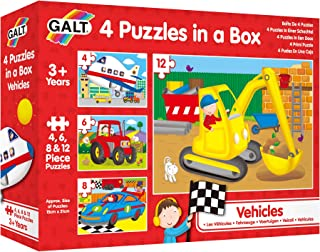 "Galt 1004009 Four Puzzles in A Box- Vehicles, 6"" x 8"""