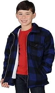 Boys Zip Up Flannel Heavy Sherpa Lined Fleece Sweater for Kids Small - XL