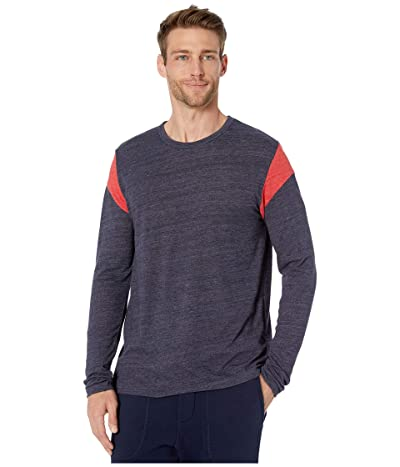 Alternative Long Sleeve Shoulder Stripe Tee (Eco True Midnight/Eco True Red) Men