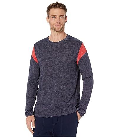 Alternative Long Sleeve Shoulder Stripe Tee (Eco True Midnight/Eco True Red) Men