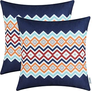 CaliTime Pack of 2 Soft Canvas Throw Pillow Covers Cases for Couch Sofa Home Decor Bohemian Style Colorful Zigzag Striped Geometric 18 X 18 Inches Navy Blue