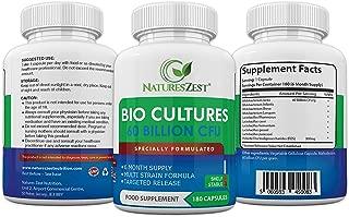 Natures Zest 60 Billion CFU Bio Cultures with Prebiotics 180 Capsules Highest Strength 9 Strain Ultra Formula for Adults (Men/Women) Food Supplement – 6 Months' Supply