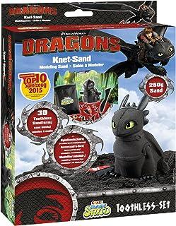 Craze Magic Sand Dragons Drachenzähmen Spielset 250g Kinetischer Spielsand Kinetic Knetsand Set Schwarz 54728, Toothless, ...