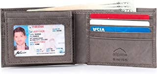 Mens Leather Bifold Wallet Removable Flip Up ID Window