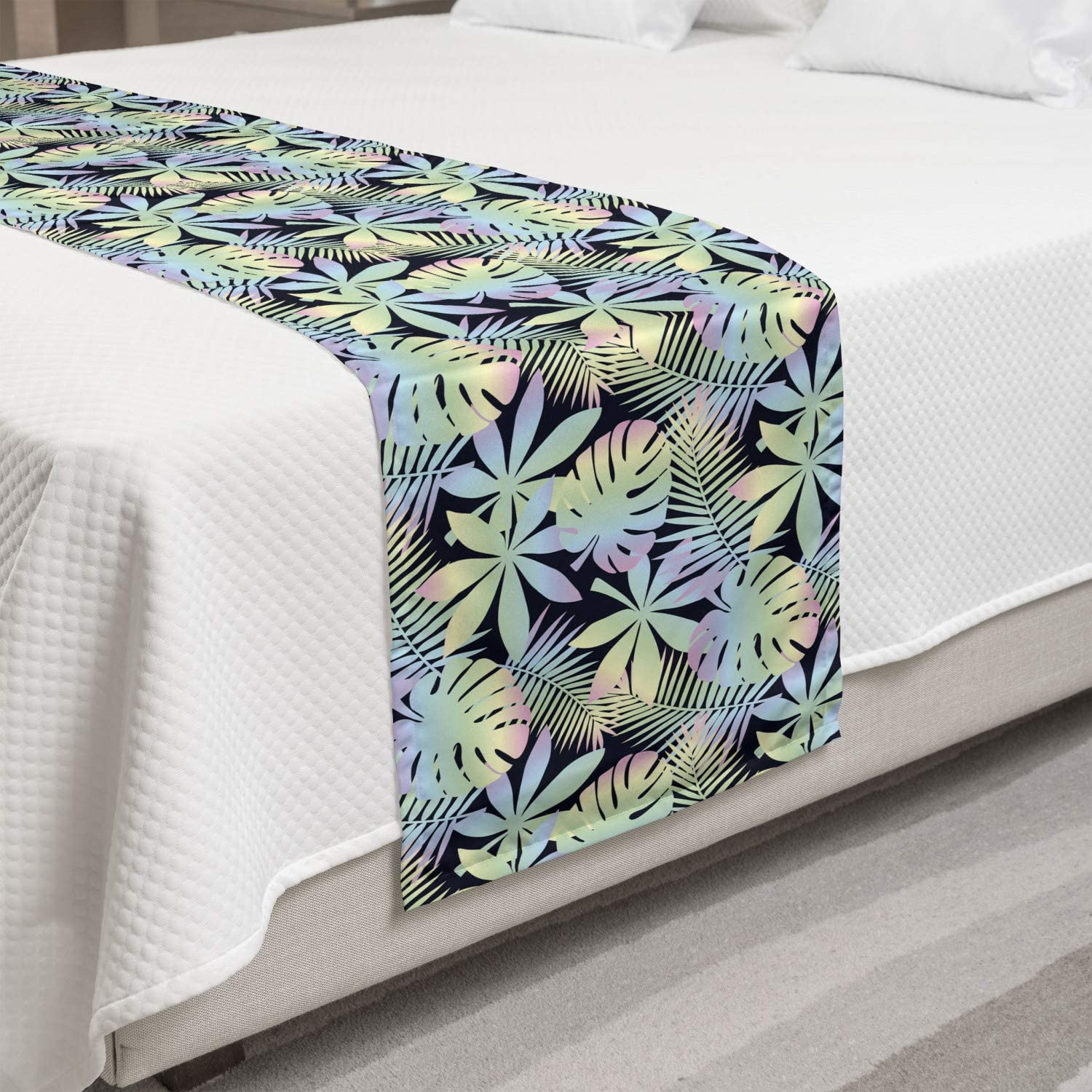 Ambesonne Max shop 68% OFF Tropical Bed Runner Monstera and i Banana Leaves Palm