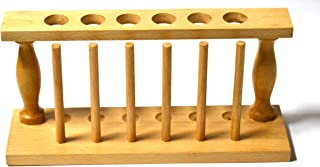 """Premium Test Tube Rack, (6) 25mm Holes and (6) Pins - Solid Wood - 9.4"""" Long, 3.75"""" Tall"""