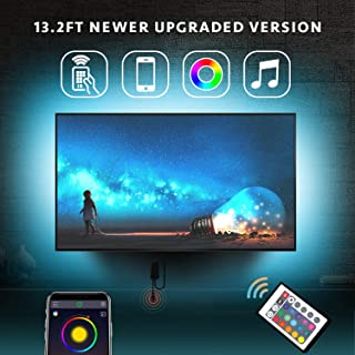 Nexillumi LED Strip Lights for 56''-75'' TV with Remote App Control TV LED Backlight Color Changing RGB LED Strip USB Powered (APP Control+ Remote) (13.2Ft + 3.2Ft Corner Cords)