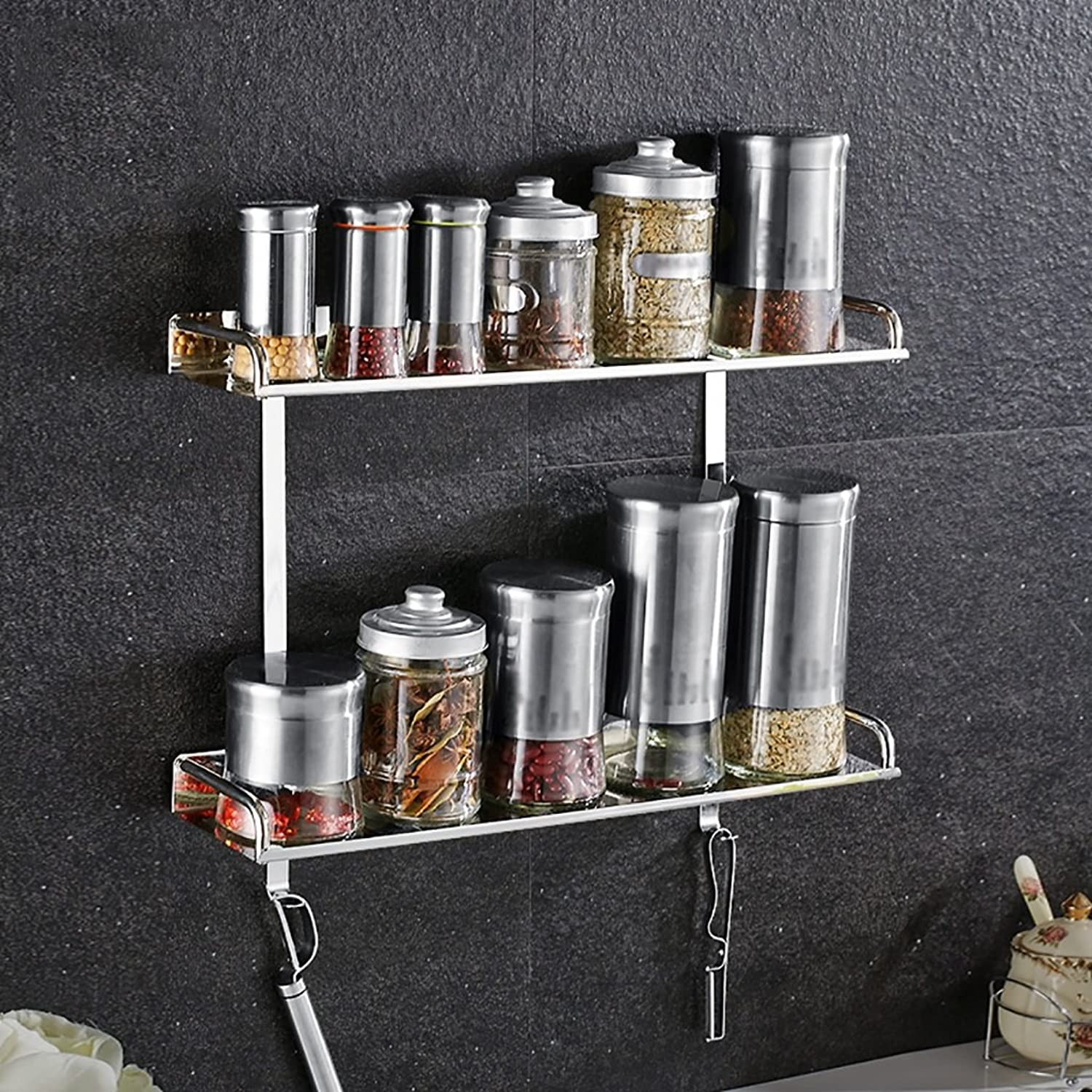 Yxsd 304 Stainless Steel Bathroom Shelf, Kitchen Wall Hanging Seasoning Supplies Silver Storage Rack (color   2 Tier, Size   500mm)