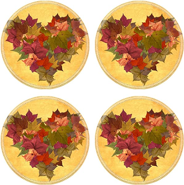 Liili Round Coasters Non Slip Natural Rubber Desk Pads IMAGE ID 10614172 Multicolored Fall Leaf Lot In Heart Shape Over Vintage Background